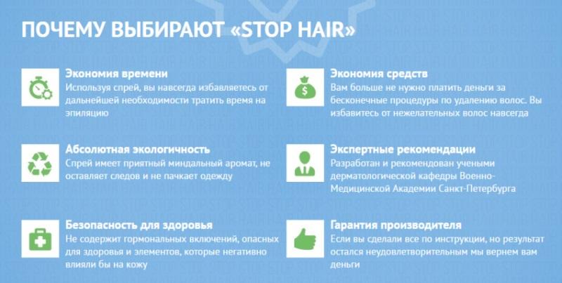 Какие плюсы применения спрея Stop Hair?