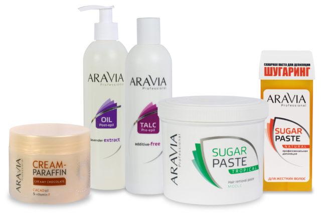 Что касается сахарной депиляции, то кроме пасты для шугаринга, Aravia предлагает клиентам приобрести полный набор необходимых для процедуры средств